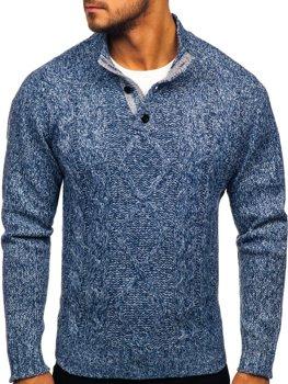 Sweter męski ze stójką niebieski Denley P088
