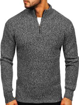 Sweter męski ze stójką szary Denley H1936