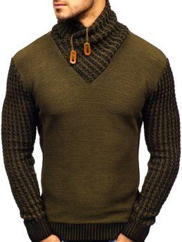 Sweter męski ze stójką we wzory zielony Denley 2010