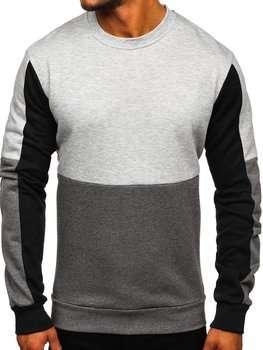 Szara bluza męska bez kaptura Denley KS2222