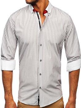 Szara koszula męska w paski z długim rękawem Bolf 20727