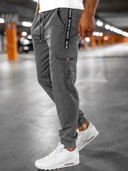 Szare bojówki spodnie męskie dresowe Denley JX9395
