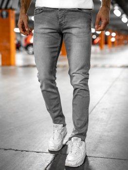 Szare spodnie jeansowe męskie regular fit Denley R905