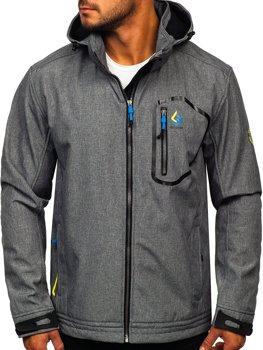 Szaro-niebieska kurtka męska przejściowa softshell Denley AB006