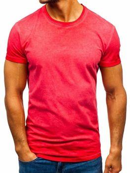 T-shirt męski bez nadruku czerwony Denley 100728