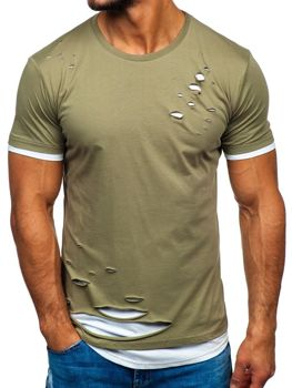 T-shirt męski bez nadruku khaki Bolf 10999