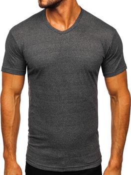 T-shirt męski bez nadruku w serek antracytowy Bolf 192131