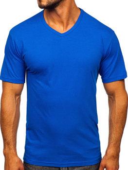 T-shirt męski bez nadruku w serek niebieski Bolf 192131