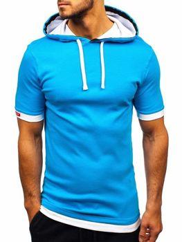 T-shirt męski z kapturem turkusowy Bolf 08-1