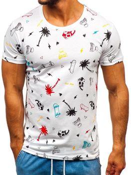 T-shirt męski z nadrukiem biały Bolf 1150-A