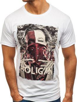 T-shirt męski z nadrukiem biały Denley 006
