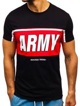 T-shirt męski z nadrukiem czarny Denley 100698