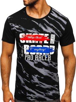 T-shirt męski z nadrukiem czarny Denley KS1951
