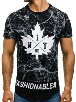 T-shirt męski z nadrukiem czarny Denley s107