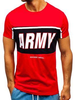 T-shirt męski z nadrukiem czerwony Denley 100698