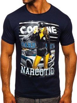 T-shirt męski z nadrukiem granatowy Denley 004