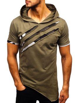 T-shirt męski z nadrukiem i  kapturem khaki Bolf 1185