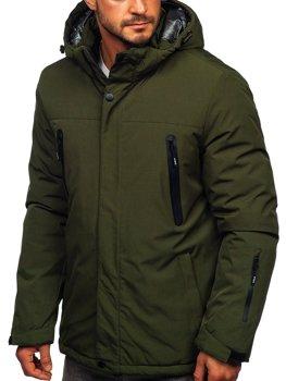 Zielona narciarska kurtka męska zimowa sportowa Denley 9801