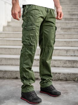 Zielone spodnie bojówki męskie z paskiem Denley CT8906