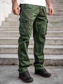 Zielone spodnie bojówki plus size męskie z paskiem Denley CT8901