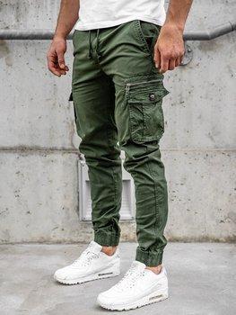 Zielone spodnie joggery bojówki męskie Denley CT6702