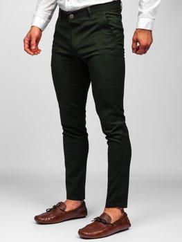 Zielone spodnie materiałowe chinosy męskie Denley 0015