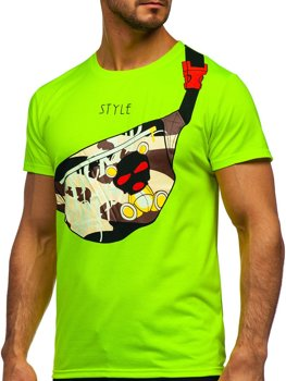Zielony-neon T-shirt męski z nadrukiem Denley KS2371
