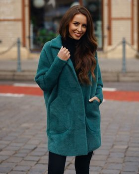 Zielony płaszcz damski Denley 7108