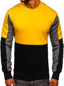Żółta bluza męska bez kaptura Denley KS2222