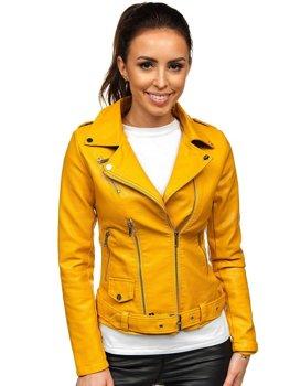 Żółta ramoneska kurtka skórzana damska Denley R16