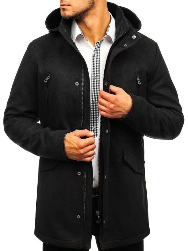 Płaszcz męski zimowy czarny Denley 5439