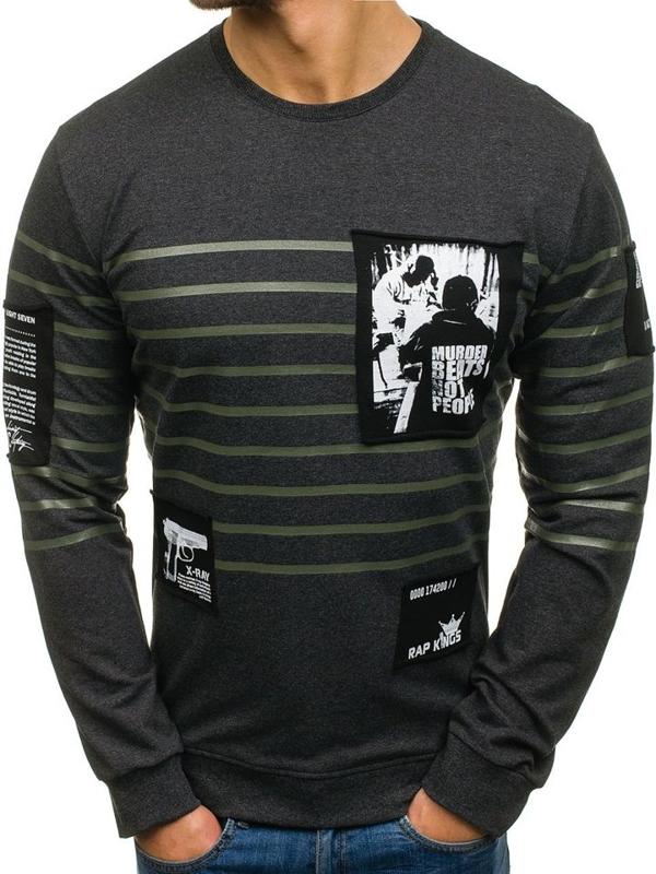 Bluza męska bez kaptura z nadrukiem grafitowa Denley M07