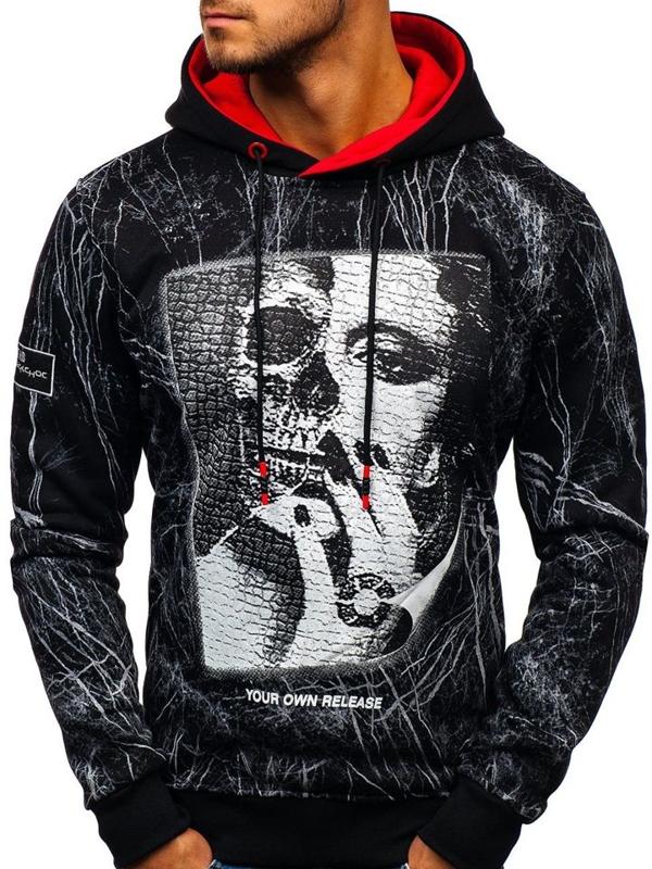 Bluza męska z kapturem czarna Denley DD627