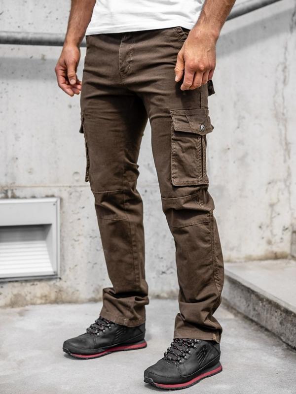 Brązowe spodnie bojówki męskie z paskiem Denley 8813