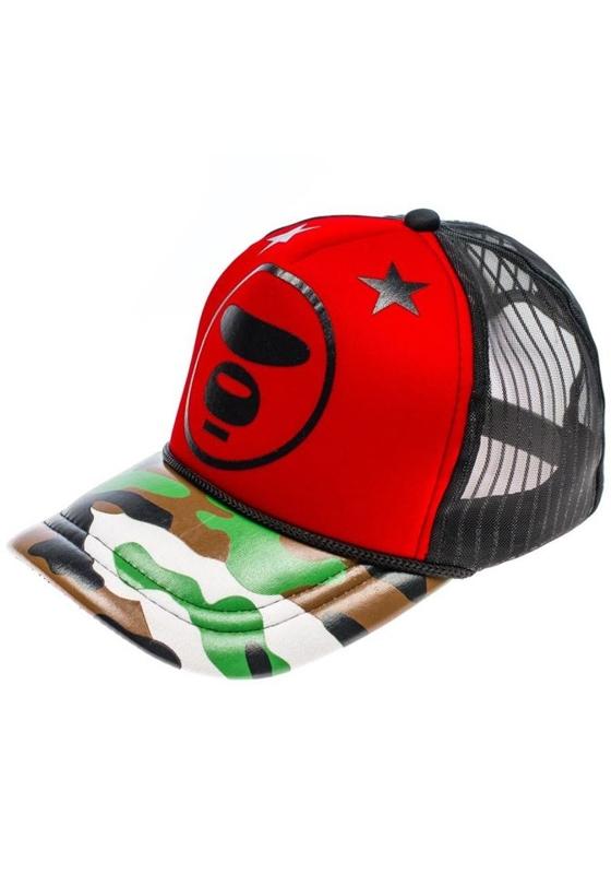 Czapka z daszkiem czerwono-czarna Denley 81