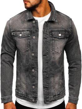 Czarna jeansowa kurtka męska Denley AK586