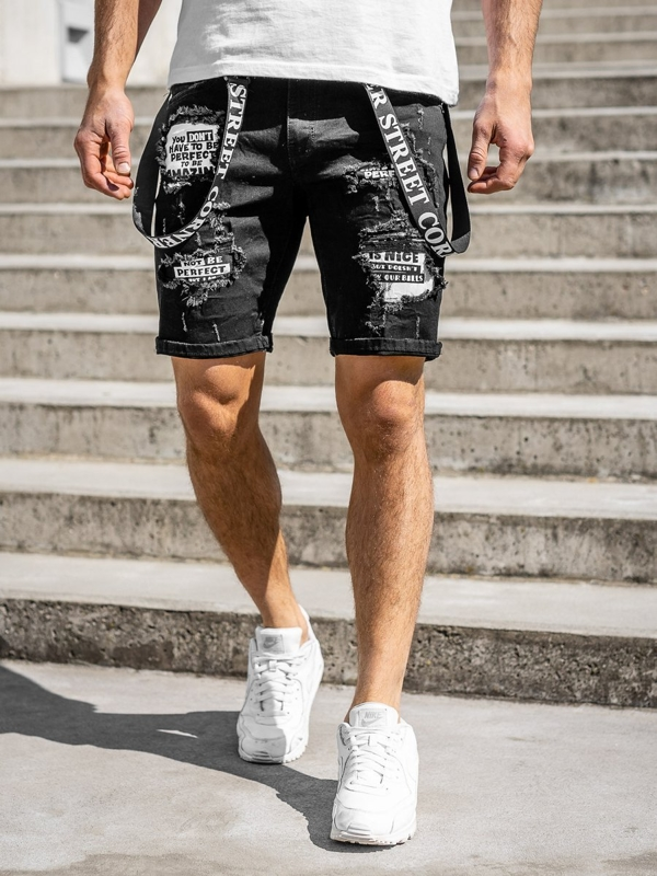 Czarne jeansowe krótkie spodenki męskie Denley KG3882