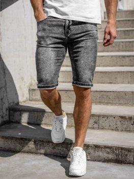 Czarne jeansowe krótkie spodenki męskie Denley KR1257