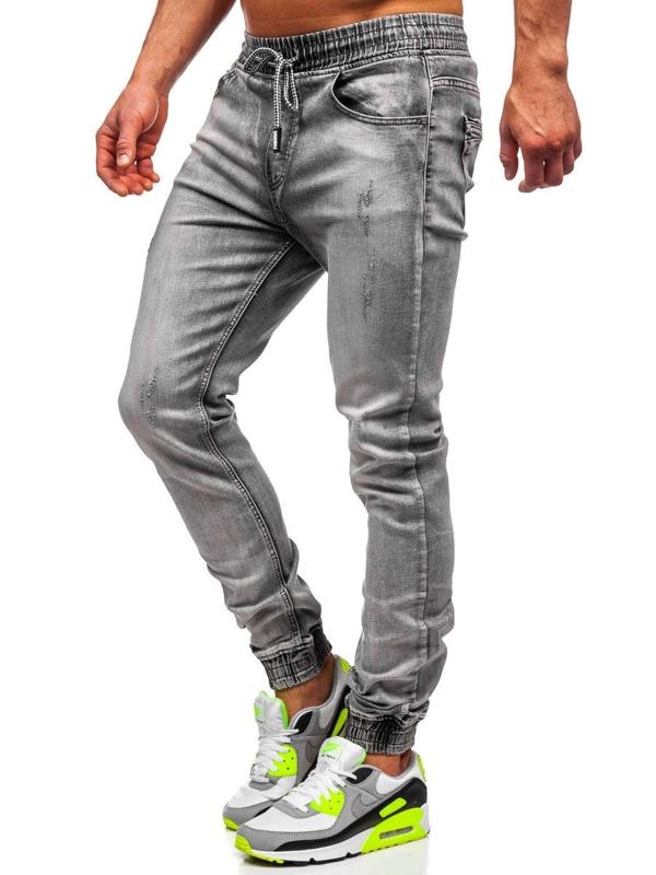 Czarne spodnie jeansowe joggery męskie Denley KA1828-1