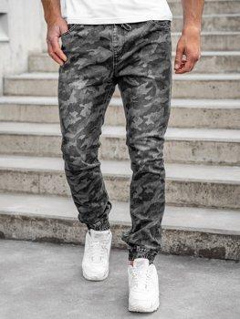 Czarne spodnie joggery moro męskie Denley RB9489DT