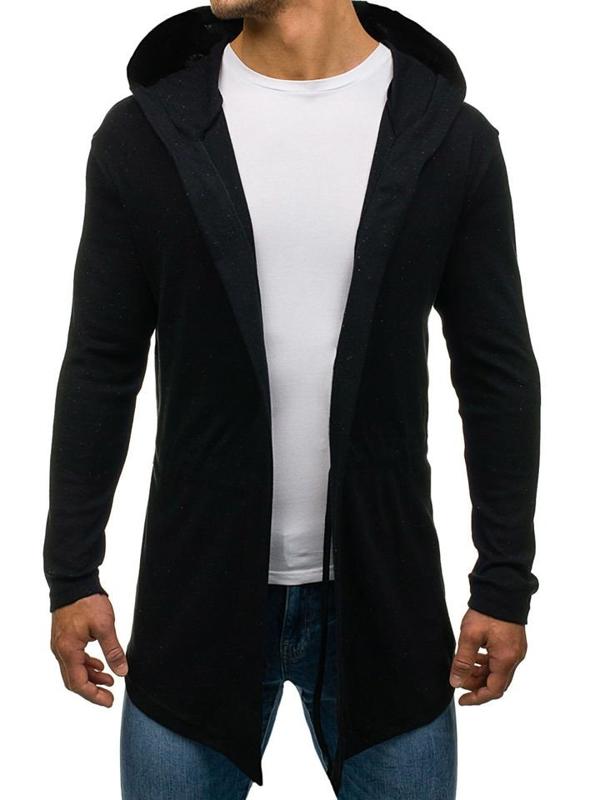 Długa bluza męska z kapturem czarna Denley 1888