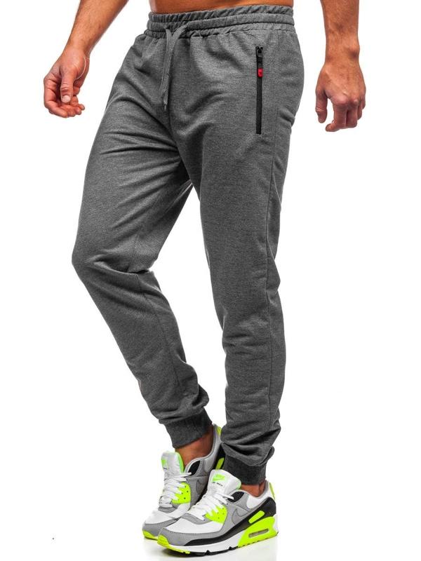 Grafitowe spodnie męskie dresowe Denley XW09