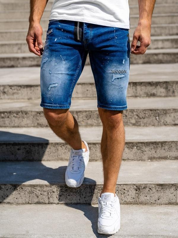 Granatowe jeansowe krótkie spodenki męskie Denley 3004
