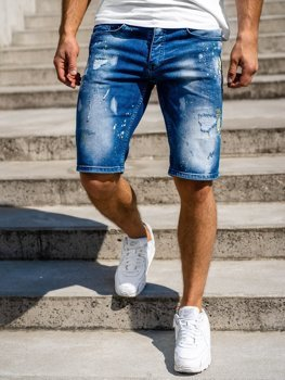 Granatowe jeansowe krótkie spodenki męskie Denley 3006