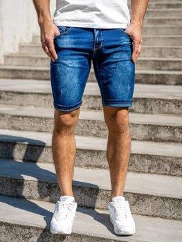 Granatowe jeansowe krótkie spodenki męskie Denley KG3768