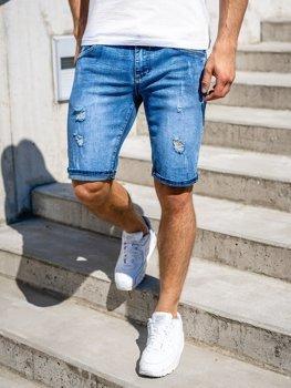 Granatowe jeansowe krótkie spodenki męskie Denley KG3801