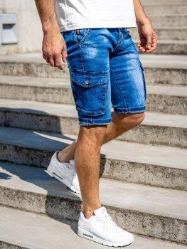Granatowe jeansowe krótkie spodenki męskie bojówki z paskiem Denley KR1076