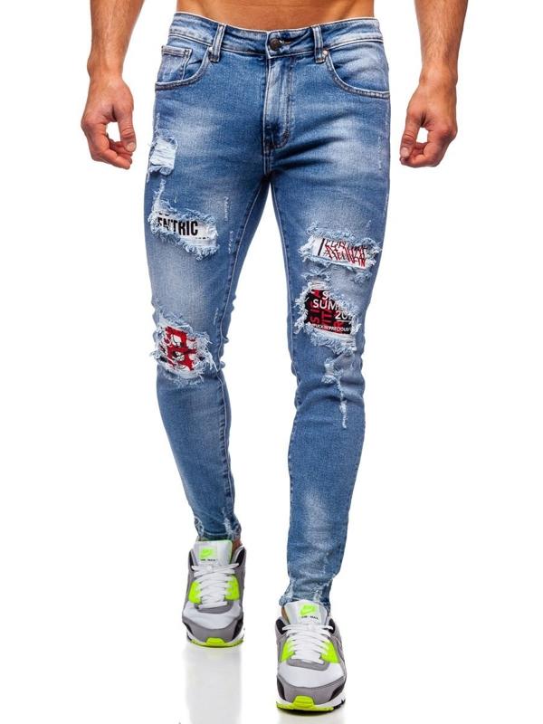 Granatowe jeansowe spodnie męskie skinny fit Denley KA1735