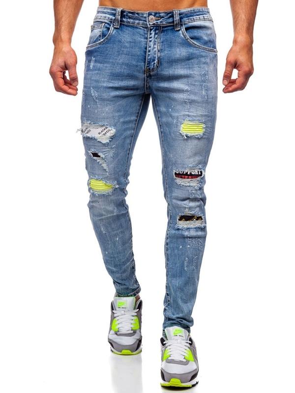 Granatowe jeansowe spodnie męskie skinny fit Denley KA1873