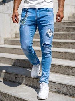 Granatowe jeansowe spodnie męskie slim fit Denley 85003S0